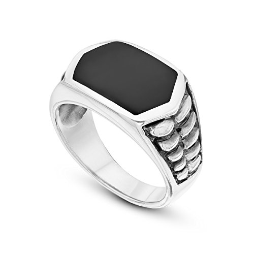 925 Sterling Silver Signet Ring Onyx Stone Tyre Hexagon Black Ring For Men 10 -