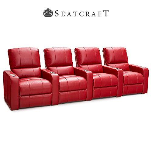 Seatcraft Millenia Leather Home Theater Seating Chairs Power Recline - (Row of 4, Red)