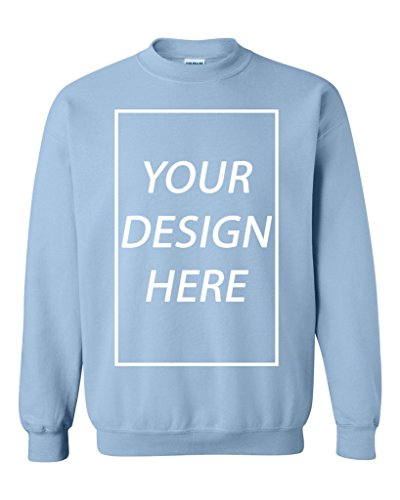 Add Your Own Text Design Custom Personalized Crewneck Sweatshirt (Large, Light Blue)