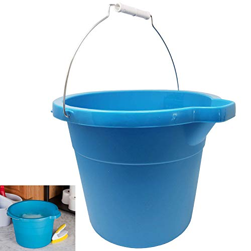 12 Quart 11.4 L Heavy Duty Sturdy Spout Pail Bucket Organizer Household Cleaning Supplies Projects Mopping Storage Comfortable Durable Grip Pour Handle with Volume Marks-Blue