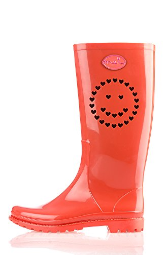 MEI Damen Perforierte Smily Gummistiefel Orange