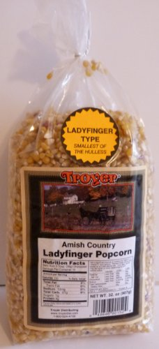 Troyer Amish Ladyfinger Popcorn, 1 Lb Bag, Tender, Non GMO -
