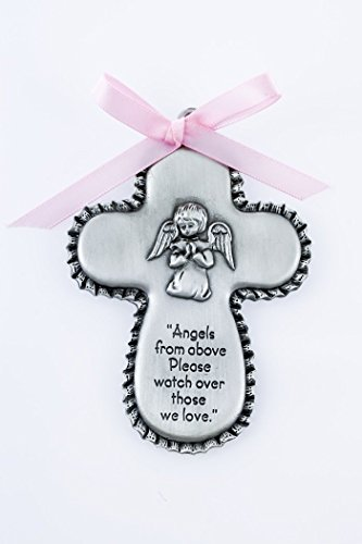(Pewter Angels from Above Crib Medal Cross with Praying Angel and Pink Ribbon, 3 1/2 Inch)