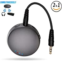 2-in-1 Bluetooth Transmitter Receiver Pair 2 Devices at Once v4.1 Wireless Home Audio Stereo Adapter Portable 3.5mm Jack for TV, PC, CD Player, eBook Reader
