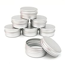 Healthcom 2oz Metal Steel Tin Flat Silver Metal Tins Empty Slip Slide Round Tin Containers With Tight Sealed Twist Screwtop Cover by Healthcom