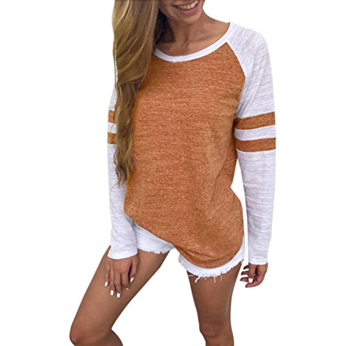 (iDWZA Women Ladies Long Sleeve Splice Blouse Tops Clothes T Shirt (Orange, S))