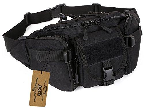 DCCN Gürteltasche Leckerli-Tasche Einzel-Schulter Brusttasche Taillentasche Hüfttasche fuer Radtouren Rennen und Wandern schwarz
