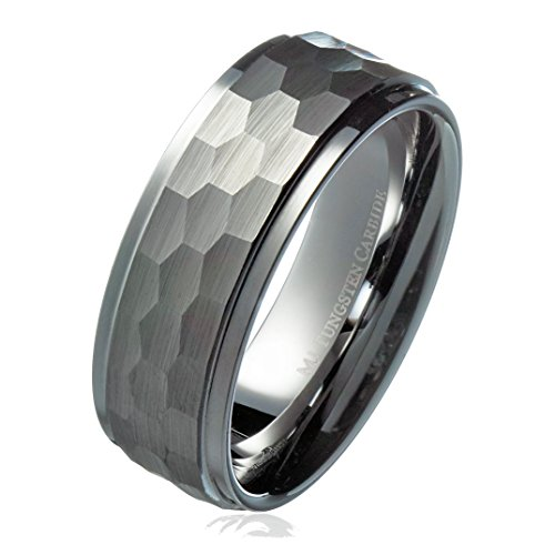 MJ Metals Jewelry MJ 8mm Hammered Stepped Edges Tungsten Carbide Men's Band Wedding Ring Size 8.5 (Hammered Band 8mm Ring)