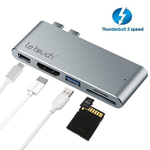 Price comparison product image USB C Hub, LeTouch 5 in 1 Dual Type C Adapter Thunderbolt 3 USB-C Dongle for New MacBook Pro, Type-C Power Pass-through, HDMI 4K@30Hz, USB 3.0 Port, SD/Micro SD Card Reader (Aluminum, Grey)