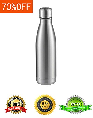 Masvis Stainless steel Water bottle 16 OZ Vacuum Insulated Leak-Proof Double Walled Cole Shape Bottle, Silver