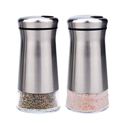 Bonris Salt and Pepper Shakers with Adjustable Pour Holes Stainless Steel Salt and Pepper Shakers Set Stainless Steel with Glass Bottom Perfect for Himalayan and Pepper