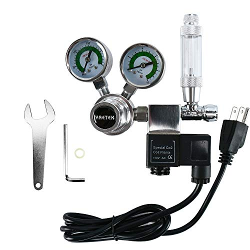 YaeTek CO2 Regulator Aquarium Big Dual Gauge Display with Bubble Counter and Check Valve w/Solenoid 110V Fits Standard US Tanks Easy to Adjust CO2 Level Comes w/Tools (G5/8) from YaeTek