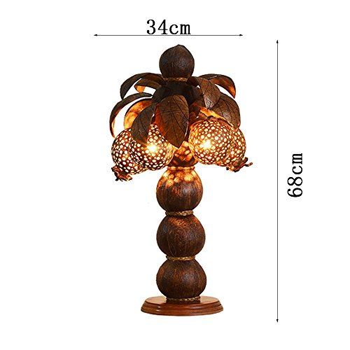 HOMEE Ideal reading light-- wooden coconut shell decoration wood art lamp southeast asia thai spa club hotel bedroom bedside table lamp (style optional) --desk and bedside lighting,A by HOMEE (Image #2)