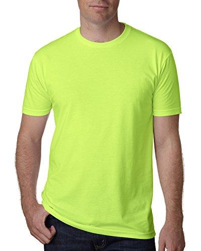 Next Level Apparel Men's CVC Crewneck Jersey T-Shirt, Neon Hthr Green, - The New Outlet Collection Jersey