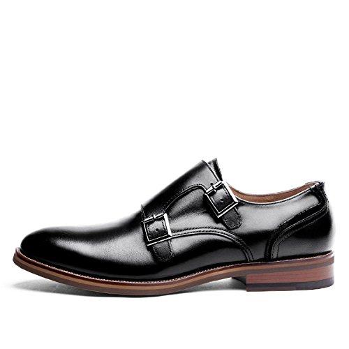LEDLFIE Chaussures en Cuir pour Hommes Chaussures en Cuir Black fQN56B