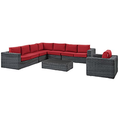 Modway EEI-2014-GRY-RED-SET Summon Outdoor Patio Sectional Set with Sunbrella Cushions, 7 Piece, Canvas Red (Outdoor Furniture 2014 Trends)