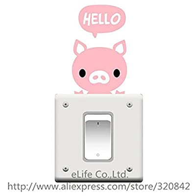 5PCS/Lot Hello Pig PVC Wall Stickers Switch Stickers on the Walls Vintage Decoration DIY Home Decor Wallpaper for Kids Room