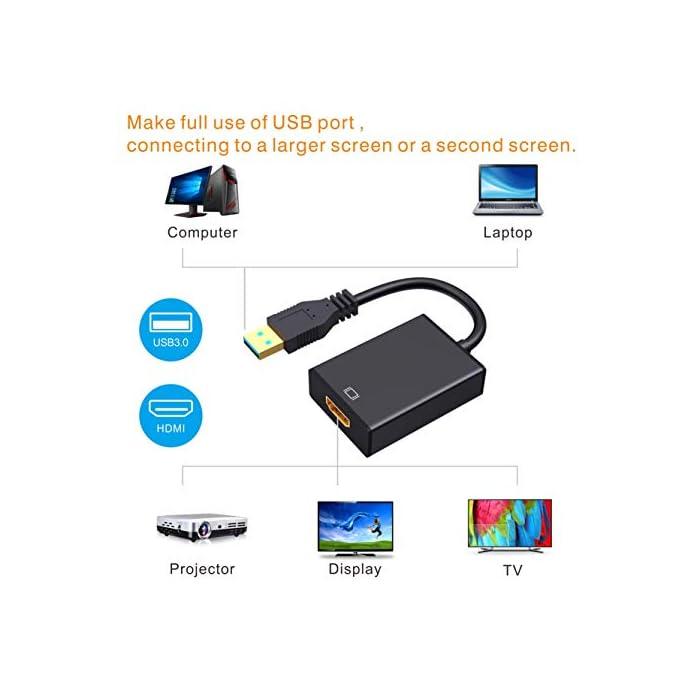 41B0wPgpzlL Haz clic aquí para comprobar si este producto es compatible con tu modelo 【Adaptador USB a HDMI】: Este adaptador USB HDMI puede conectar una PC o computadora portátil a través de la interfaz USB a un HDTV, monitor o proyector con interfaz HDMI. Admite sincronización de audio y video, compatible con Windows XP, Windows 7, Windows 8 / 8.1, Windows 10. 【1080P compatible con USB 3.0】El puerto USB 3.0 está equipado con un chip avanzado que permite una transmisión de señal estable. Resolución de video de hasta 1080P y admite pantalla 3D, puede admitir visualización a 1920x1080P @ 60Hz en la pantalla cuando se conecta a USB 3.0. La velocidad de transmisión de USB 3.0 es de hasta 5 Gbps.