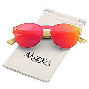 AMZTM Trend Fashion Design Eyewear Frames Bamboo Wooden Driving Glasses One Piece Shades Flash Mirrored Reflective REVO Women Sunglasess (Red, 46)