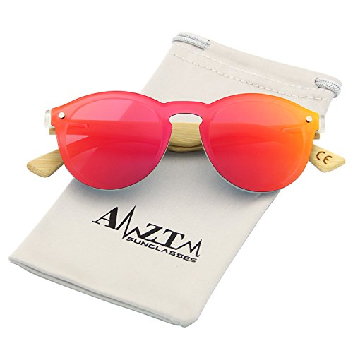 AMZTM Trend Fashion Design Eyewear Frames Bamboo Wooden Driving Glasses One Piece Shades Flash Mirrored Reflective REVO Women Sunglasess (Red, - Shades Reflective