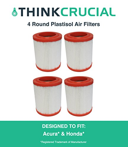 4 Premium Round Plastisol Air Filter Fits Acura RSX, CSX, Honda Civic, CR-V, Element, Maximum Air Flow, 6.88 x 3.13 x 5.42 in., Part # A25456, CA9493, by Think Crucial