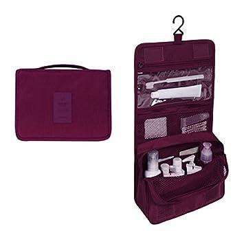 1439aa410497 Amazon.com   Women Men Large Waterproof Makeup Bag Travel Beauty Cosmetic  Bag Organizer Case Necessaries Make Up Toiletry Bag Wine red   Beauty