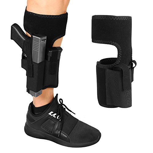 Ankle Holster for Concealed Carry, Universal Leg Carry Gun Holster with Magazine Pouch Fits Glock 42, 43, 36, 26, S&W Bodyguard .380, .38, Ruger LCP, LC9, Sig Sauer (right) (Ankle Pistol Holster)