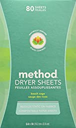 Method Naturally Derived Dryer Sheets, Beach Sage, 80 Sheets (6 Count)