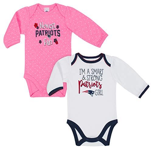 c5e6db9ff NFL New England Patriots Baby-Girls 2-Pack Long-Sleeve Bodysuits