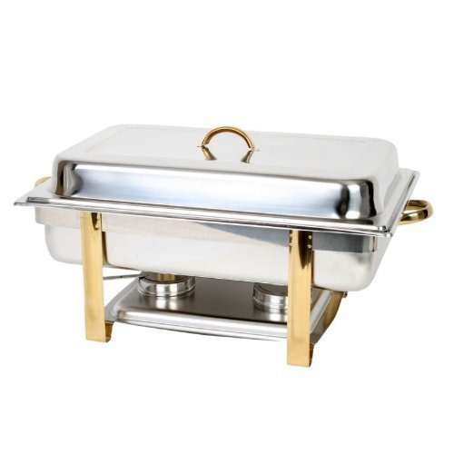 Chrome Round Chafer - 8 Quart Stainless Steel Chafer Set Mirror Finished w/Gold Accent Handles - Full Size