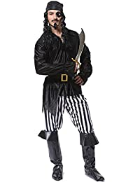 Adult Mens Cool Pirate Costumes,Black,white,One Size