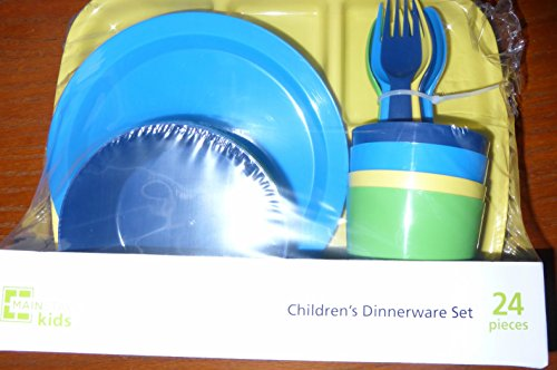 Mainstays Kids Children's Dinnerware Set 24pcs Blue, Dark Blue, Yellow and...