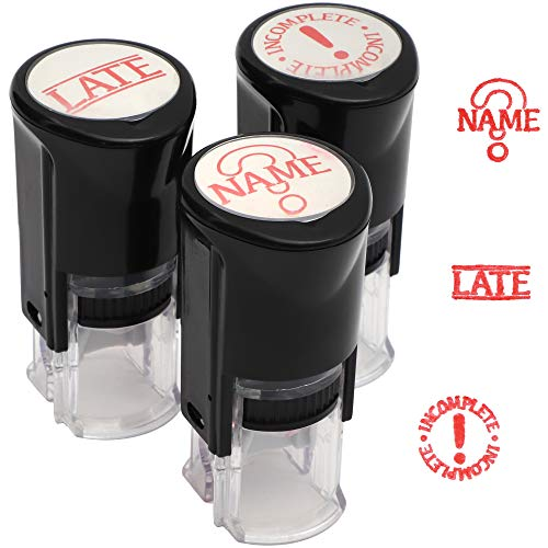 Juvale Self Inking Teacher Stamps, 3 Pack, Red Ink