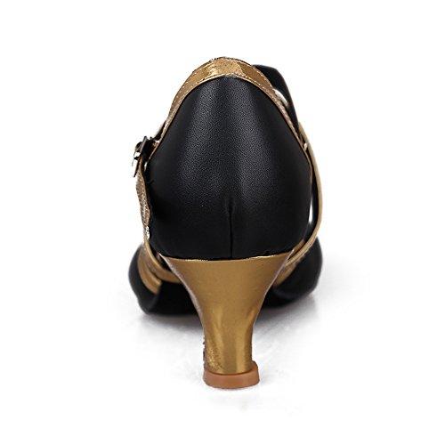 Hroyl Donna Latino / Jazz Scarpe Da Ballo In Pelle Modello Da Sala-515 Oro