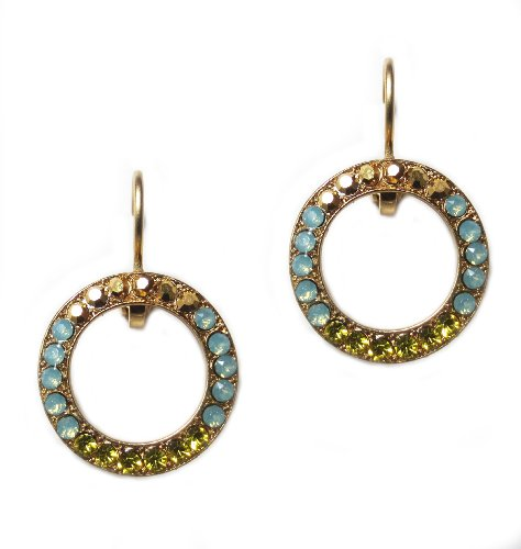 Mariana Gold Plated Swarovski Crystal Round Earrings in Olive, Pacific Opaque, and Crystal Dorado