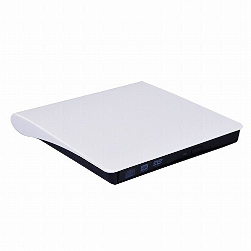 LeaningTech Mobile External DVD-RW Drive Mobile CD/DVD Writer Drive Slim Burner Reader Player White, for Laptop PC Mac or Windows xp/ 2003/ Vista/ 7/ 8.1/ 10 by LEANINGTECH