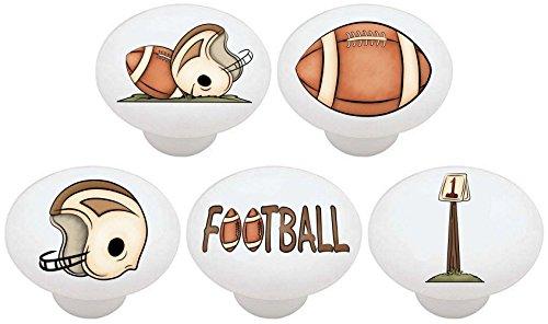 SET OF 5 KNOBS - Football Sports - DECORATIVE Glossy CERAMIC Drawer PULL Dresser KNOB
