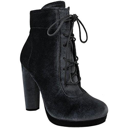 05d58cbf00d Mujer Plataformas Tacón En Bloque Alto Botines Con Cordones Terciopelo  Zapatos Talla envío gratis