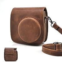 HelloHelio Classic Vintage PU Leather Instax Camera Compact Case for Fujifilm Instax Mini 9/8/8+ Instant Film Camera (Brown)