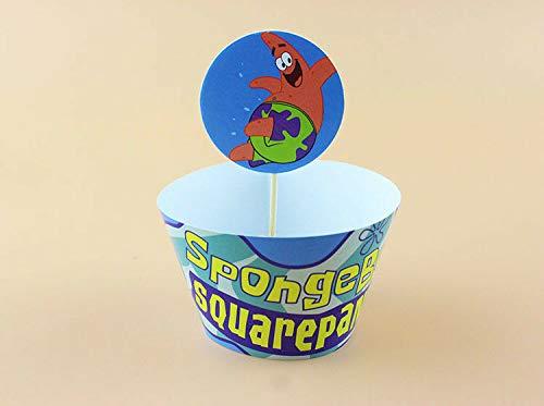FidgetGear 24 Piezas Bob Esponja Cupcake Wrappers Cupcake ...