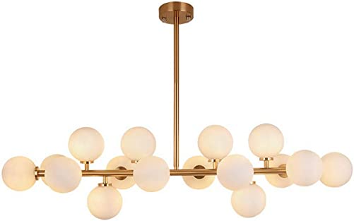 16 Lights Magic Beans Chandeliers, Brass Finish Fixture Nordic Brushed Molecular Lights, Ceiling Lamps for Living Room Dining Room Study Bedroom Pendant Lighting Brass-Bigger