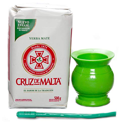 Yerba Mate Gourd Cup and Bombilla Straw Set from Argentina. Cruz De Malta Tea, Hard Plastic Gourd Cup, Metal Bombilla Kit.
