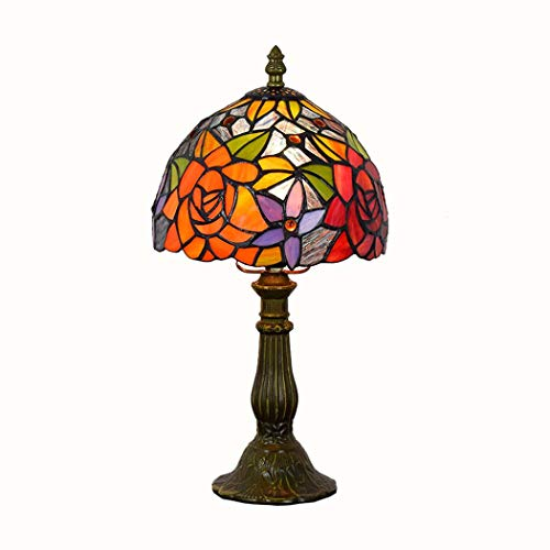 JUNJUNA Tiffany Table lamp, Stained Glass Rose Night Light, with lampshade, Base (can be Batch ≥ 1),20cmindiameter ()