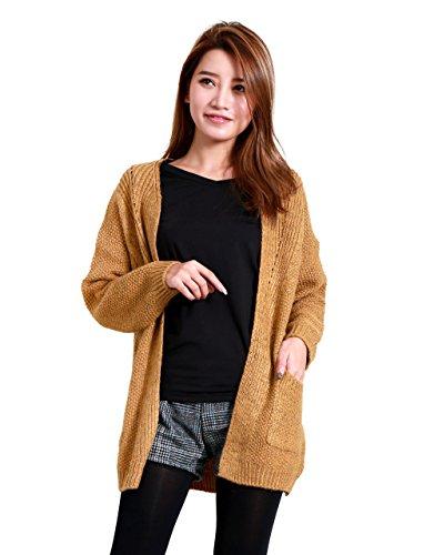 (コウエイストア)koeistore カーディガン ニットトップ 厚手 切替編み 長袖 ニットコート 大きいサイズ レディース Y4031