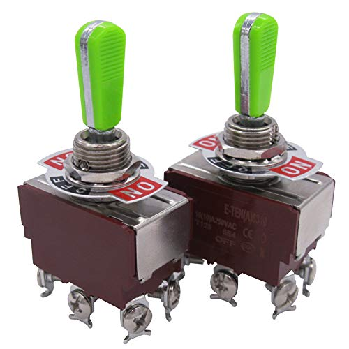 Tiass / 2pcs Univeral Heavy Duty 20A 125V DPDT 6 Terminal ON/OFF/ON Rocker Toggle Switch Plastic Metal stainless steel Top grade handle (2 Years Warranty) E-TEN-6310GG