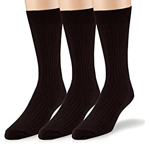 EMEM Apparel Men's Casual Soft Ribbed Cotton Knit Classic Mid Calf Crew Dress Hosiery Socks 3-Pack Black 10-13