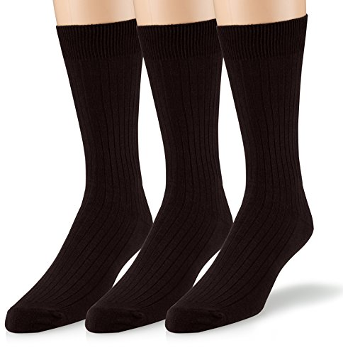 EMEM Apparel Women's Ladies Casual Soft Ribbed Cotton Knit Classic Mid Calf Crew Dress Hosiery Socks 3-Pack Black 9-11