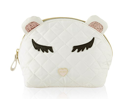 Betsey Johnson Bear Kitch Nylon Travel Cosmetic Case Pouch -