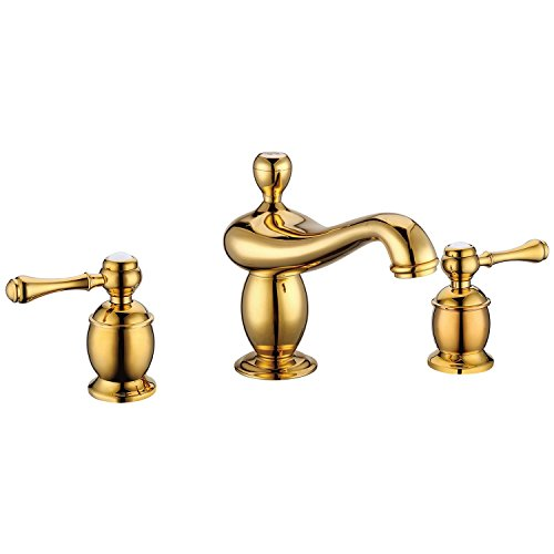 Lightinthebox Bathroom Contemporary Ti-PVD Finish Solid Brass Three Hole Two Handle Solid Brass Bathroom Sink Fauce bathtub mixer taps roman tub faucets gold luxury lavatory bath shower faucets plumbing fixtures (Set White Gold Curves)