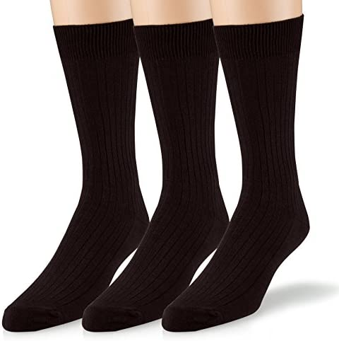 EMEM Apparel Women's Soft Ribbed Cotton Knit Classic Crew Dress Socks 3-Pack